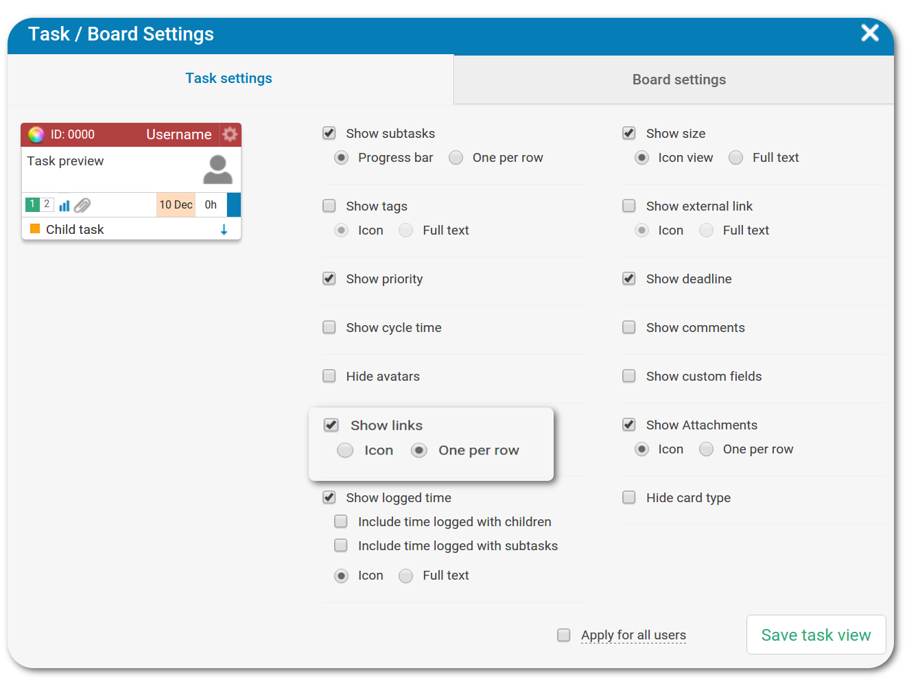 Task board settings