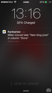 Kanbanize for iOS push notifications