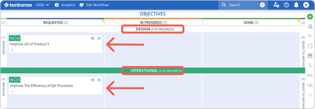 separate your objectives with kanban swimlanes