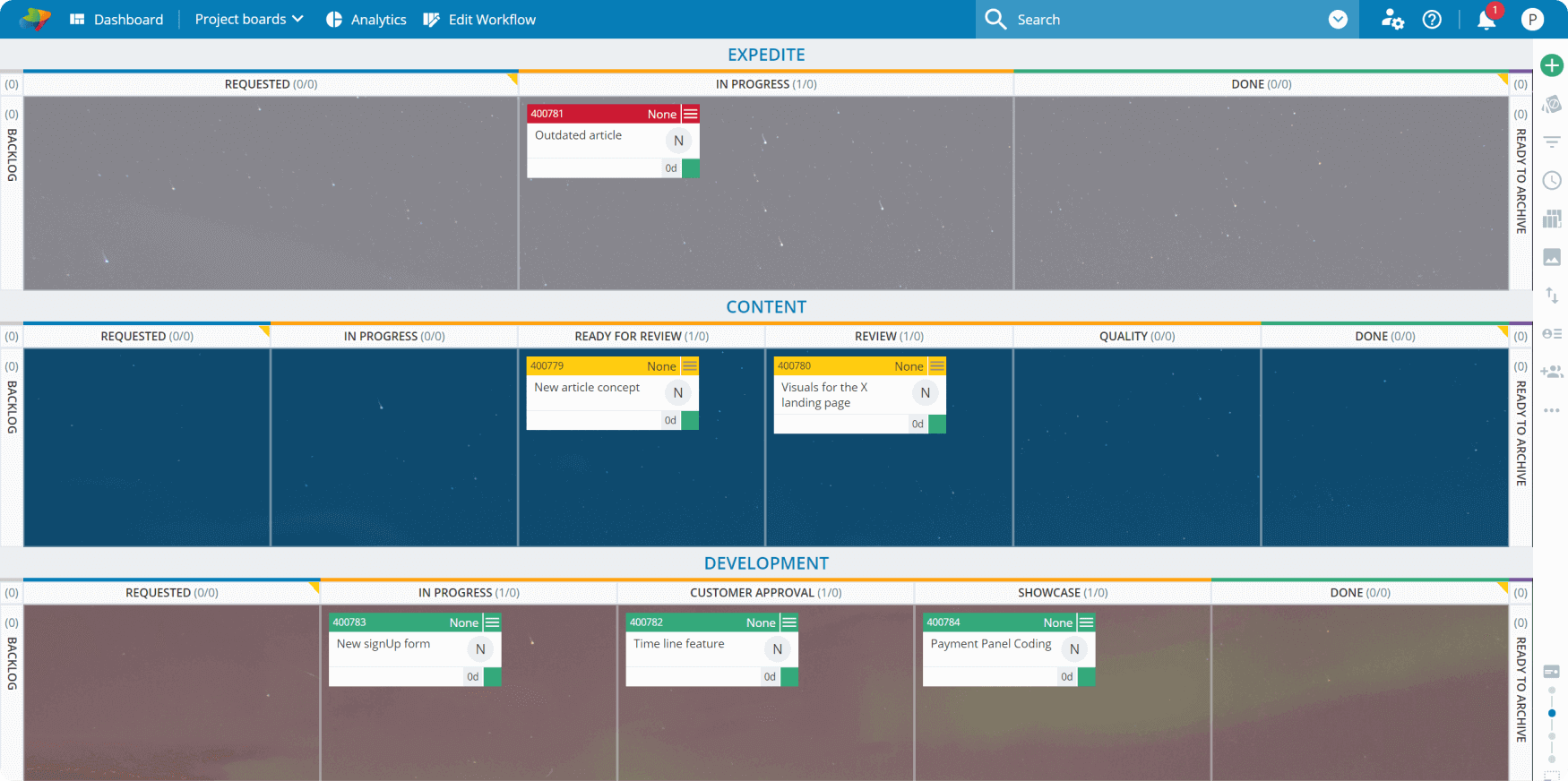 multiple workflows on Kanban board
