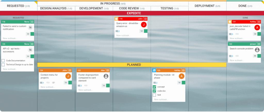 kanban board example of a software development workflow
