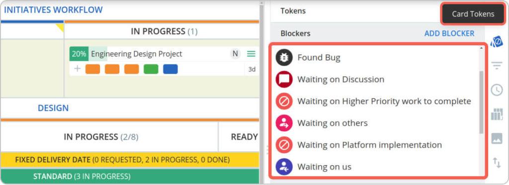 kanban tokens and blockers in kanbanize