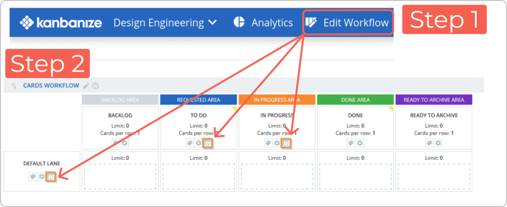 how to access the sle feature in kanbanize from the workflow editor