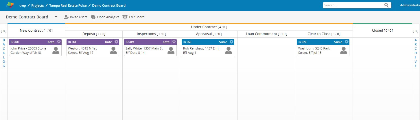 Kanban real estate contract board