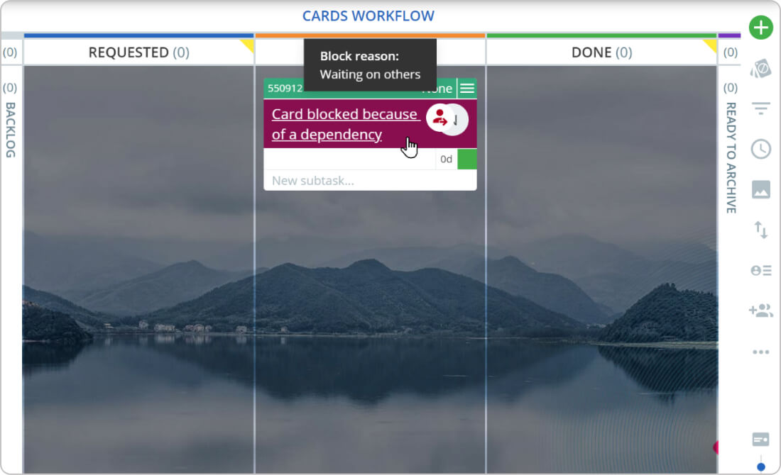 using blockers to visualize project dependencies on a Kanban board