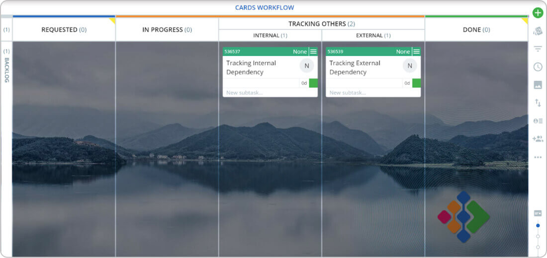 tracking external dependencies in project management on a Kanban board