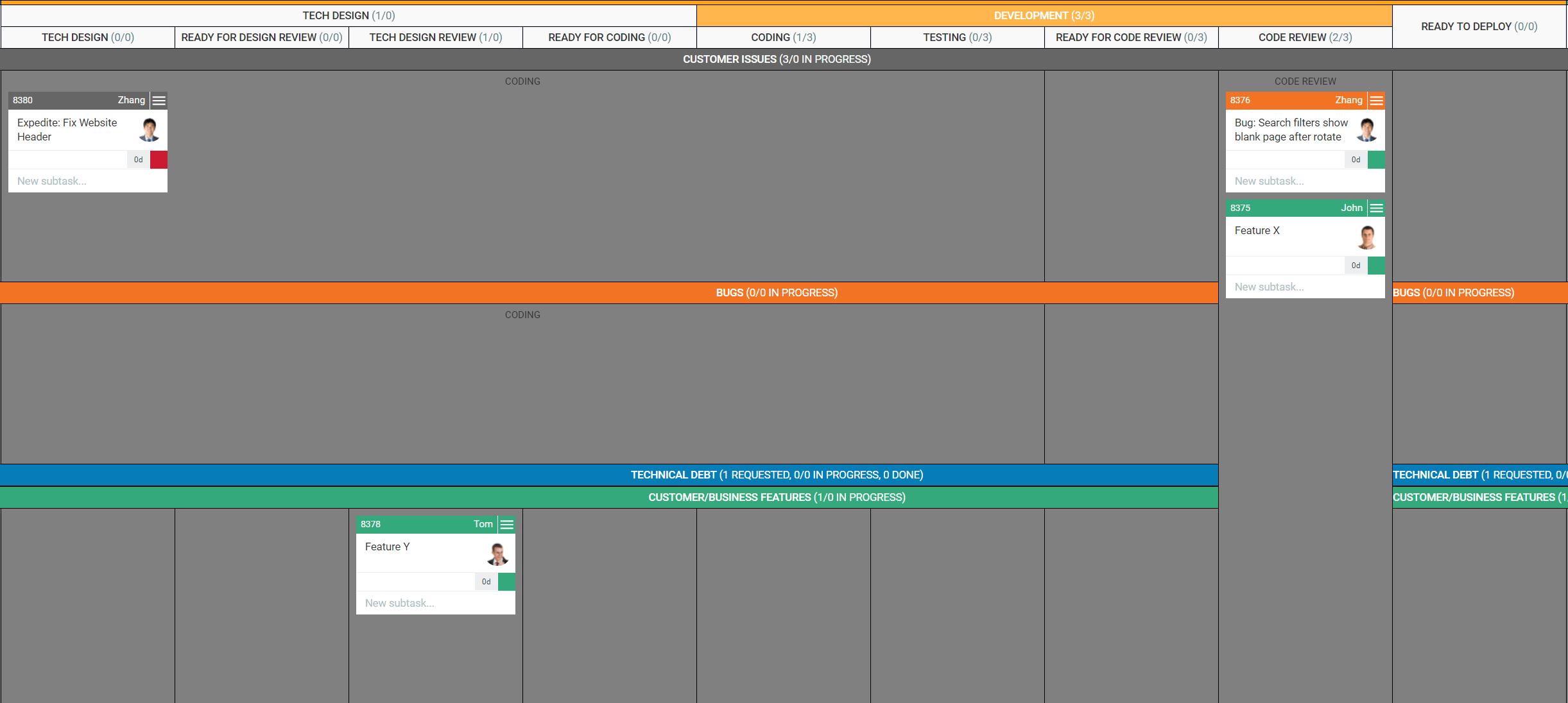 Flexible Kanban board layout in Kanbanize