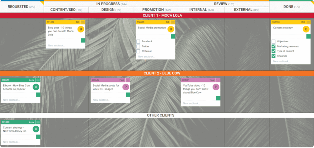 marketing agency kanban board example
